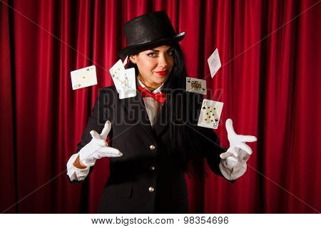 Magician With A Pack Of Playing Cards