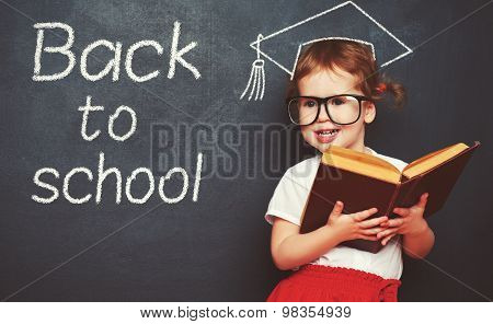 Girl Schoolgirl With Books  In A School Board