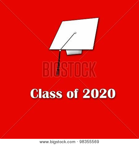Class of 2020 White on Red Single Large