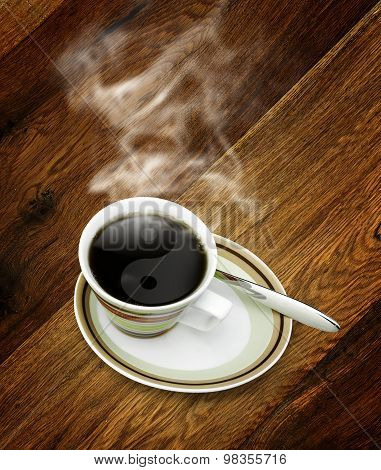 Cup Of Hot Coffee With Yin Yang Steam