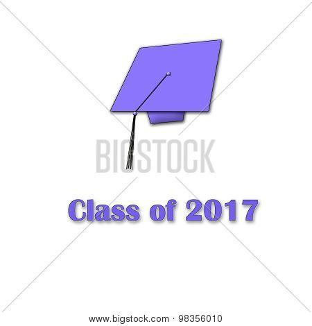 Class of 2017 Purple on White Single Large