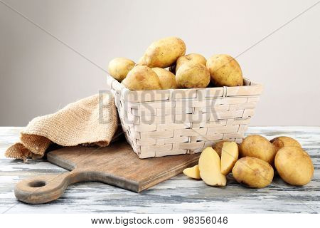 Young potatoes in wicker basket on light background