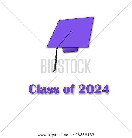 Class of 2024 Purple on White Single Large
