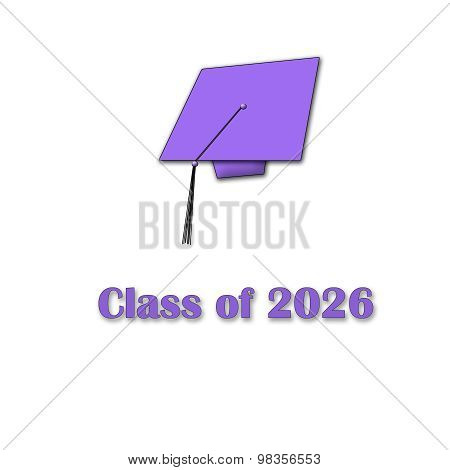 Class of 2026 Purple on White Single Large