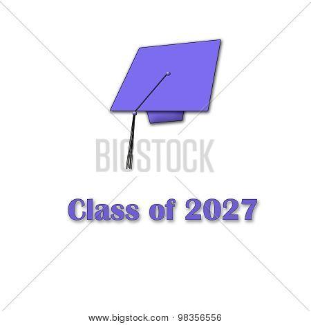 Class of 2027 Purple on White Single Large