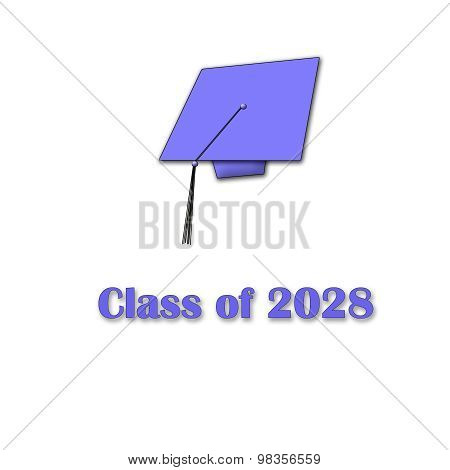 Class of 2028 Purple on White Single Large