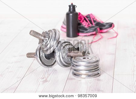 Dumbbells With Sneakers And Bottle