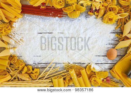Pasta - different kinds of pasta, Italian cuisine - background