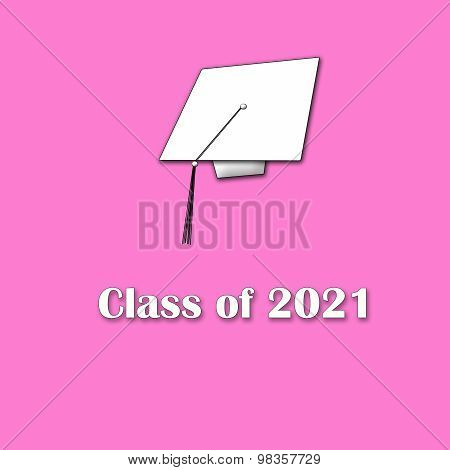 Class of 2021 White on Pink Single Lg