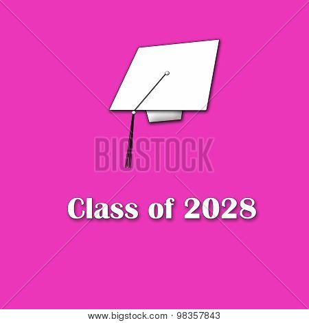 Class of 2028 White on Pink Singl Lg