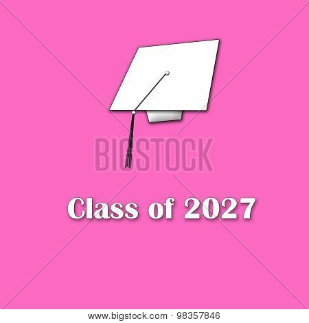 Class of 2027 White on Pink Single Lg