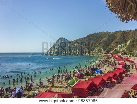 Crowded Beach At Caribbean Island In Colombia