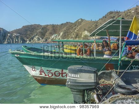 Boats At The Shore At Caribbean Island In Colombia