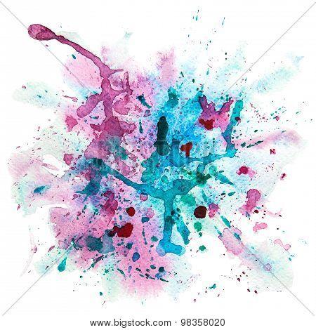 Multicolor watercolor splash stain