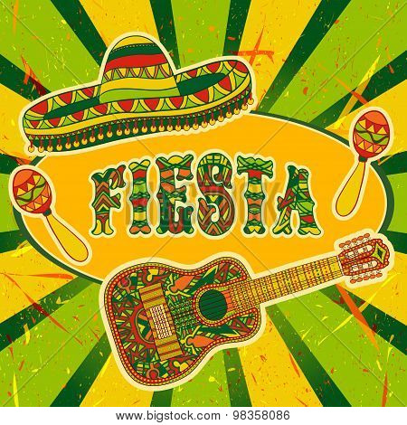 Mexican Fiesta Party Invitation with maracas, sombrero and guitar. Hand drawn vector illustration po