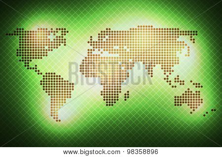 World Map Of Round Dots. Green Background.