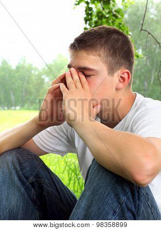 Sad Young Man Outdoor