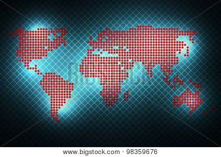 World Map Of Round Dots. Blue Background.