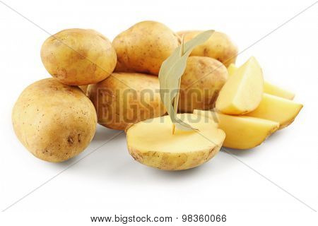 young potatoes with bay leaf isolated on white