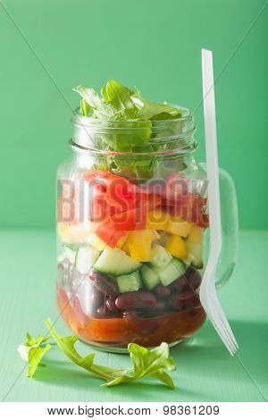 vegan bean vegetable salad in mason jars