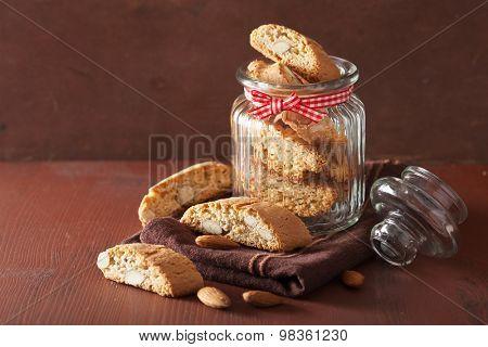 traditional italian cantuccini cookies in glass jar