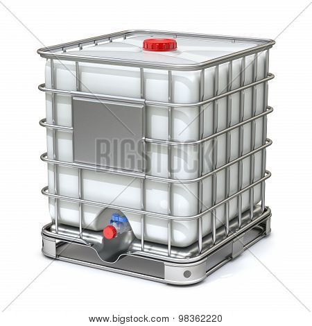 White plastic water storage tank