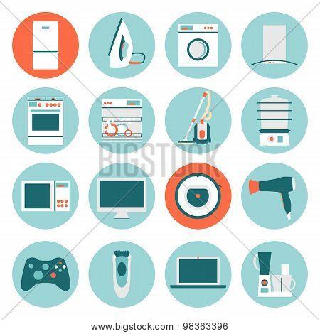 Set  modern flat design icons of home appliances.