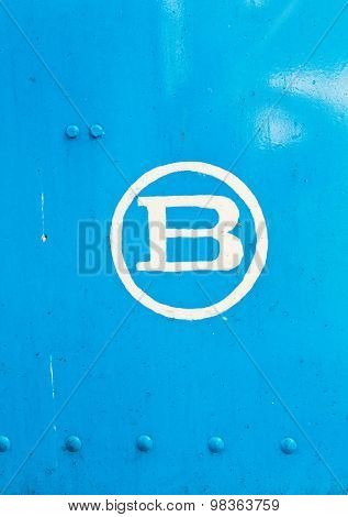 B Letter In Blue Metal