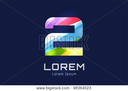 Vector number 2 logo template. Abstract two number shape and symbol, icon, text or sport dea, sport number. Text logo.