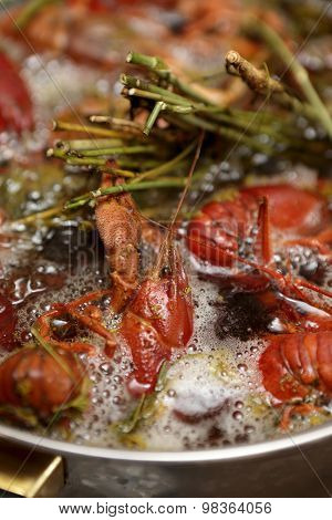 Cooking Of Crayfish With Spices