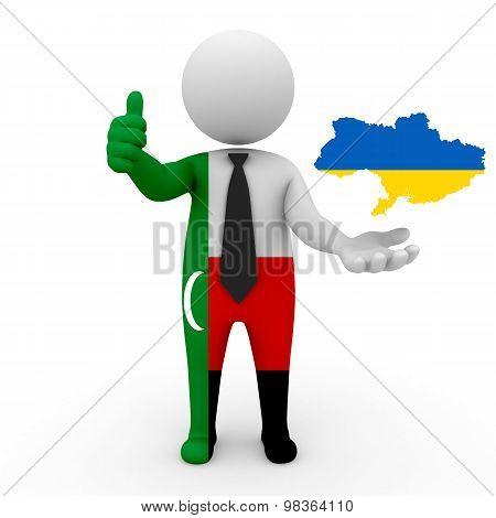 3d people Meskhetian Turks - map flag of Ukraine. Meskhetian Turks in Ukraine