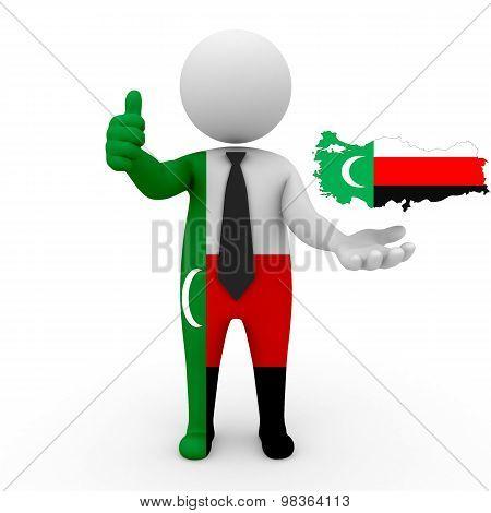 3d people Meskhetian Turks - map flag of Turkey-Meskhetian Turks. Turkey in Meskhetian Turks