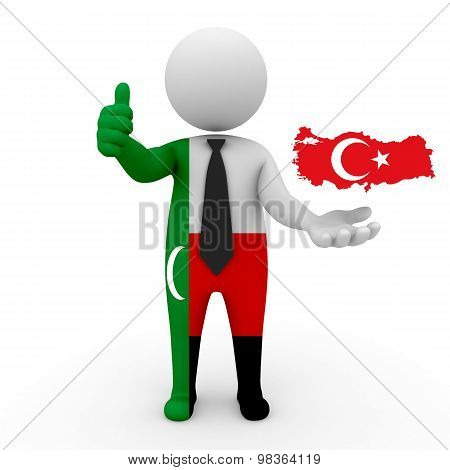 3d people Meskhetian Turks - map flag of Turkey. Meskhetian Turks in Turkey