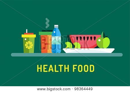 Vegetarian city food shop object icons. Nature product, vitamin symbol, auto restaurant, healthy food, green vegetables. Design elements. Isolated on green