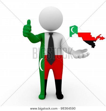 3d people Meskhetian Turks - map flag of Uzbekistan-Meskhetian Turks.Meskhetian Turks in Uzbekistan
