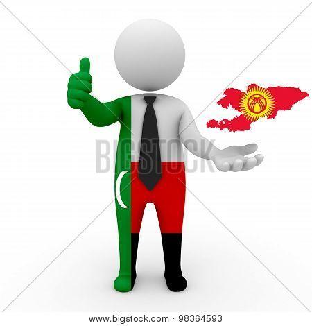 3d people Meskhetian Turks - map flag of Kyrgyzstan. Kyrgyzstan in Meskhetian Turks