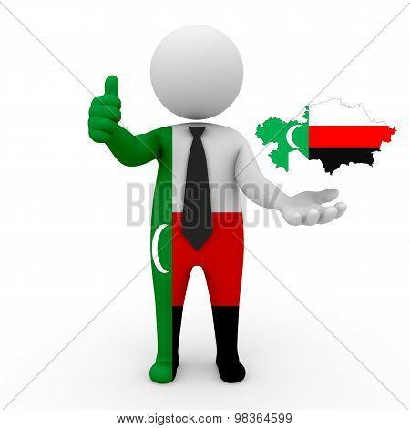 3d people Meskhetian Turks - map flag of Kazakhstan-Meskhetian Turks.Meskhetian Turks in Kazakhstan