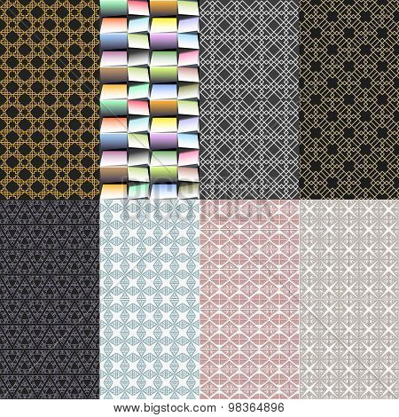 Eight geometric patterns. Set of vector seamless abstract backgrounds