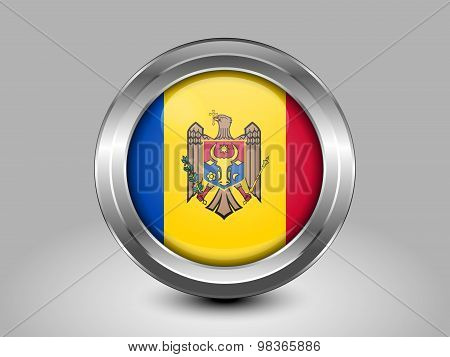 Flag Of Moldova. Metal Round Icon
