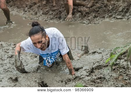 Attractive Girl In Extrime Racing In Mud Hole