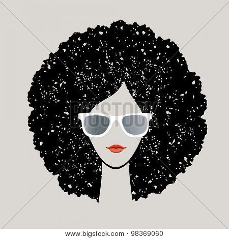 Girl with black afro and sunglasses