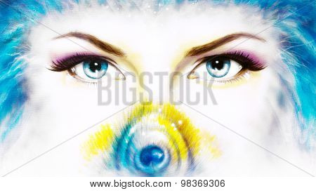 women eyes looking up mysteriously from behind a small rainbow colored peacock feather. Eye contact.