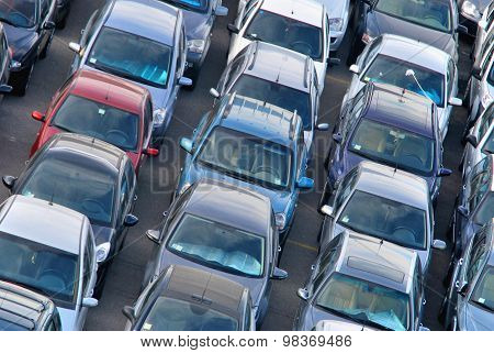 Cars Parked In Rows