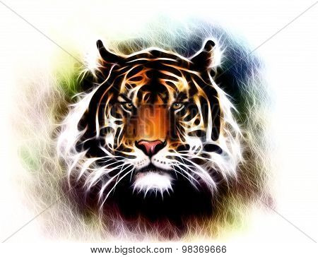 painting of a bright mighty tiger head on a soft toned abstract background eye contact