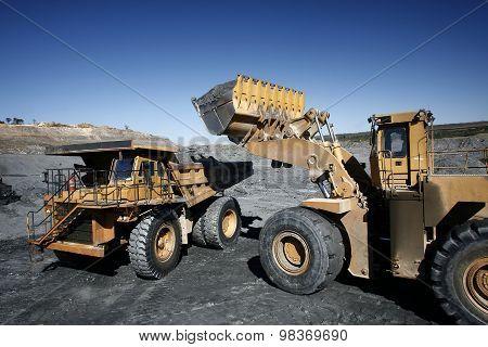Excavator And Truck