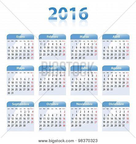 Blue Glossy Calendar For 2016 In Spanish