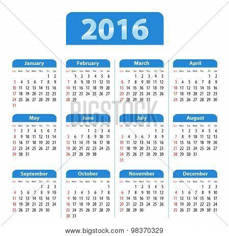 Blue Glossy English Calendar For 2016