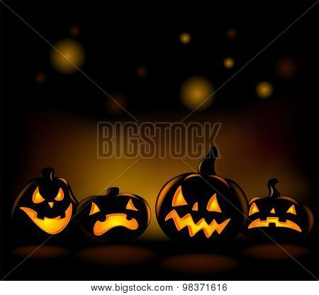 Happy laughing Halloween lanterns vector illustration.