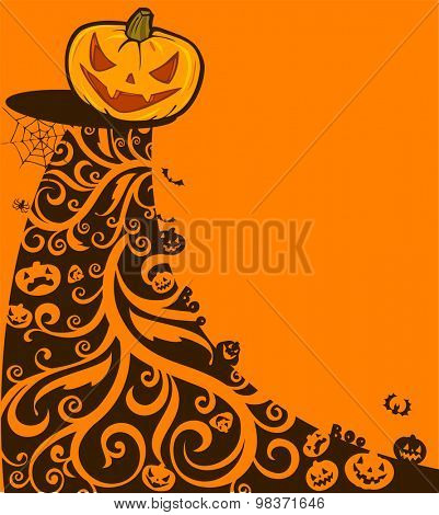 Halloween background with pumpkins and ornaments. Vector illustration.