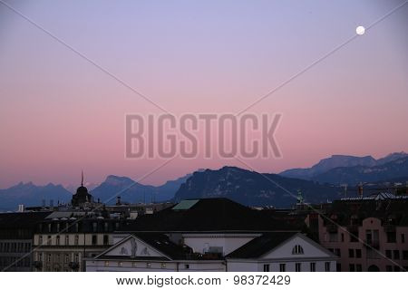 Sunset over Lucerne